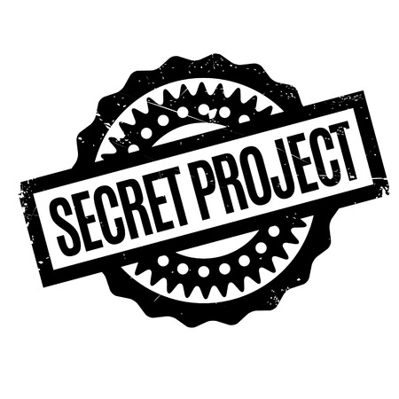 Secret Project rubber stamp. Grunge design with dust scratches. Effects can be easily removed for a clean, crisp look. Color is easily changed. Illustration