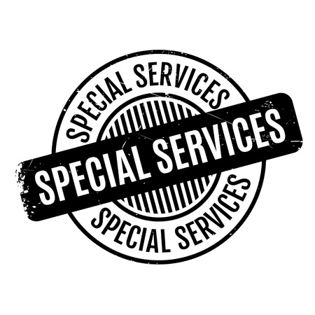 Special Services rubber stamp. Grunge design with dust scratches. Effects can be easily removed for a clean, crisp look. Color is easily changed.