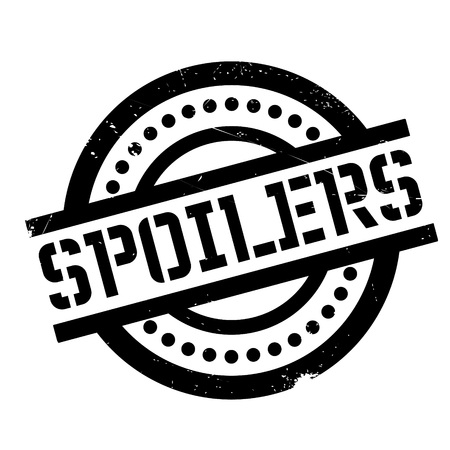 Spoilers rubber stamp. Grunge design with dust scratches. Effects can be easily removed for a clean, crisp look. Color is easily changed. Illustration