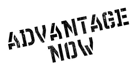 just in time: Advantage Now rubber stamp. Grunge design with dust scratches. Effects can be easily removed for a clean, crisp look. Color is easily changed. Illustration