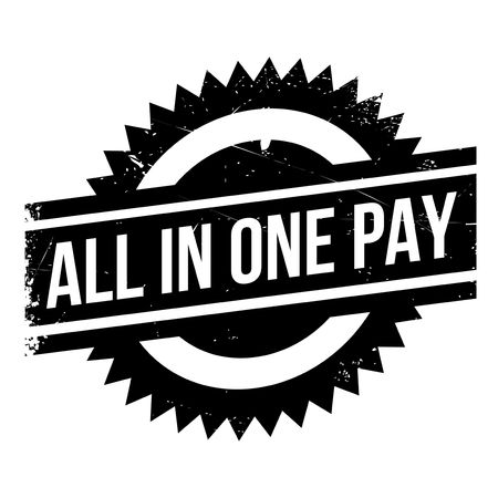 All In One Pay rubber stamp. Grunge design with dust scratches. Effects can be easily removed for a clean, crisp look. Color is easily changed.