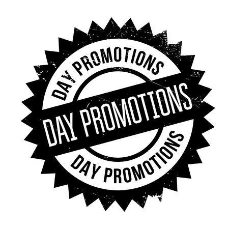 furtherance: Day Promotions rubber stamp. Grunge design with dust scratches. Effects can be easily removed for a clean, crisp look. Color is easily changed.