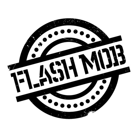 mob: Flash Mob rubber stamp. Grunge design with dust scratches. Effects can be easily removed for a clean, crisp look. Color is easily changed. Illustration