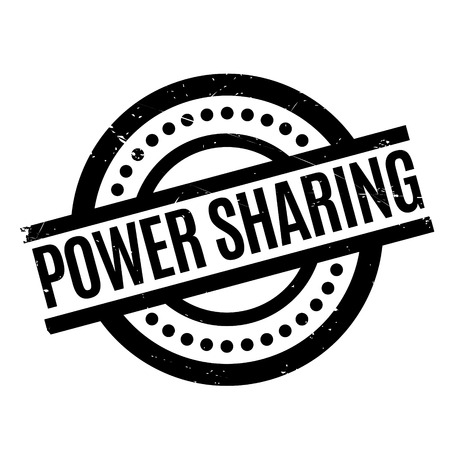Power Sharing rubber stamp. Grunge design with dust scratches. Effects can be easily removed for a clean, crisp look. Color is easily changed. Illustration
