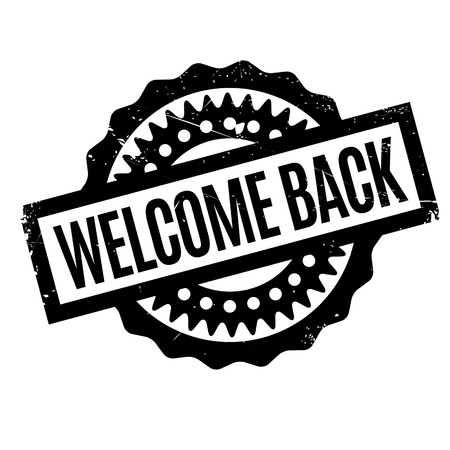 Welcome Back rubber stamp. Grunge design with dust scratches. Effects can be easily removed for a clean, crisp look. Color is easily changed. Illustration