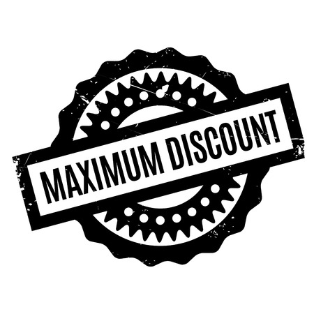 abatement: Maximum Discount rubber stamp. Grunge design with dust scratches. Effects can be easily removed for a clean, crisp look. Color is easily changed. Illustration