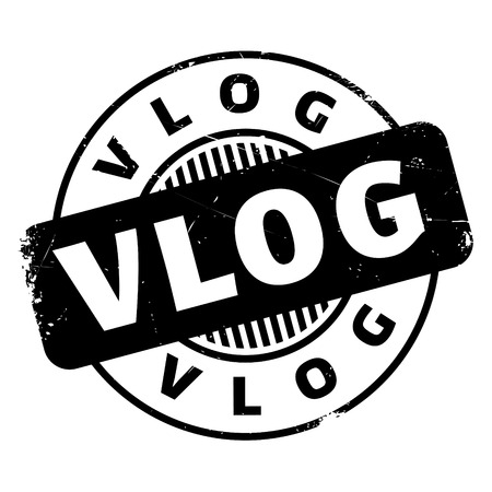 Vlog rubber stamp with grunge design and dust scratches.