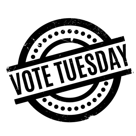 Vote Tuesday rubber stamp. Grunge design with dust scratches. Effects can be easily removed for a clean, crisp look. Color is easily changed. Illustration