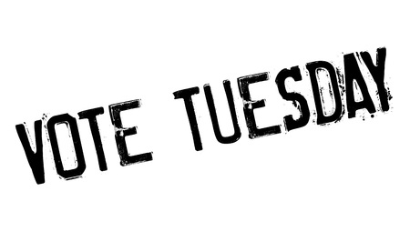 yea: Vote Tuesday rubber stamp. Grunge design with dust scratches. Effects can be easily removed for a clean, crisp look. Color is easily changed. Illustration