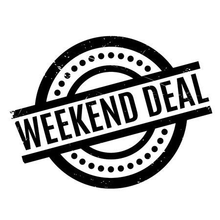 to compromise: Weekend Deal rubber stamp. Grunge design with dust scratches. Effects can be easily removed for a clean, crisp look. Color is easily changed. Illustration