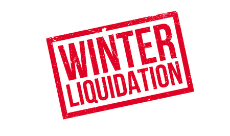 Winter Liquidation rubber stamp. Grunge design with dust scratches. Effects can be easily removed for a clean, crisp look. Color is easily changed. Illustration