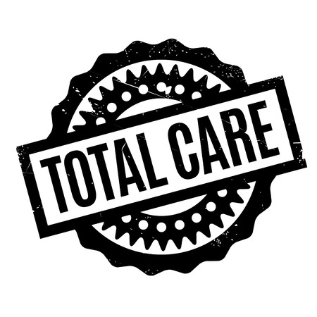 Total Care rubber stamp. Grunge design with dust scratches. Effects can be easily removed for a clean, crisp look. Color is easily changed. Illustration