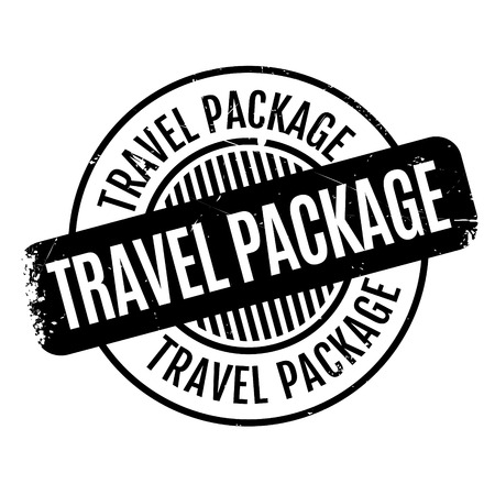 Travel Package rubber stamp. Grunge design with dust scratches. Effects can be easily removed for a clean, crisp look. Color is easily changed. Illustration