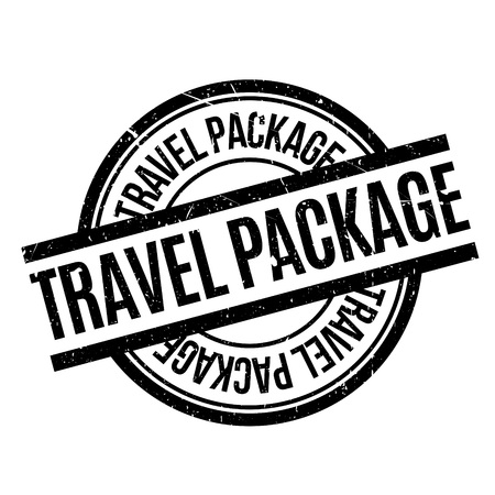 Travel Package rubber stamp. Grunge design with dust scratches. Effects can be easily removed for a clean, crisp look. Color is easily changed. Иллюстрация