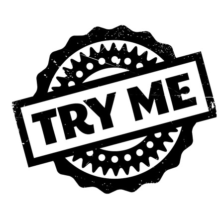 Try Me rubber stamp. Grunge design with dust scratches. Effects can be easily removed for a clean, crisp look. Color is easily changed. Vektoros illusztráció