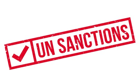 Un Sanctions rubber stamp. Grunge design with dust scratches. Effects can be easily removed for a clean, crisp look. Color is easily changed. Ilustrace