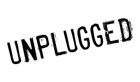 Unplugged rubber stamp with grunge design and dust scratches.