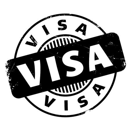 Visa rubber stamp. Grunge design with dust scratches. Effects can be easily removed for a clean, crisp look. Color is easily changed. Illustration