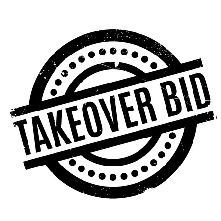 Takeover Bid rubber stamp. Grunge design with dust scratches. Effects can be easily removed for a clean, crisp look. Color is easily changed. Illustration