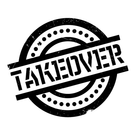 Takeover rubber stamp. Grunge design with dust scratches. Effects can be easily removed for a clean, crisp look. Color is easily changed. Illustration