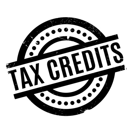Tax Credits rubber stamp. Grunge design with dust scratches. Effects can be easily removed for a clean, crisp look. Color is easily changed. Illustration