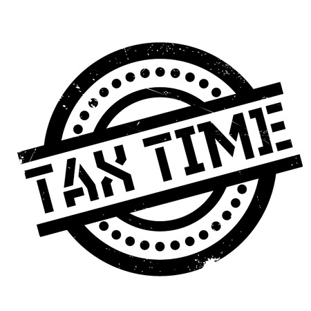Tax Time rubber stamp. Grunge design with dust scratches. Effects can be easily removed for a clean, crisp look. Color is easily changed.