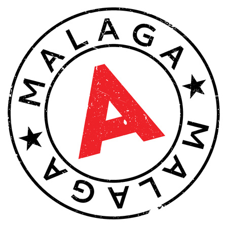 Malaga stamp. Grunge design with dust scratches. Effects can be easily removed for a clean, crisp look. Color is easily changed. Illustration