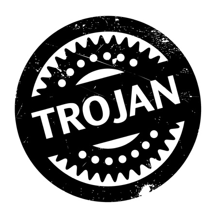 hacked: Trojan rubber stamp. Grunge design with dust scratches. Effects can be easily removed for a clean, crisp look. Color is easily changed. Illustration
