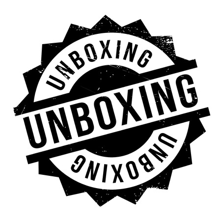 Unboxing rubber stamp. Grunge design with dust scratches. Effects can be easily removed for a clean, crisp look. Color is easily changed. Vectores