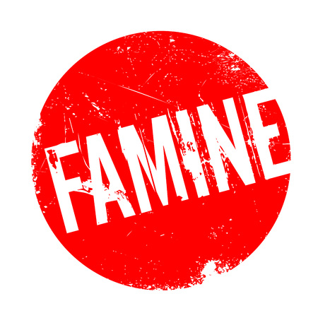 Famine rubber stamp. Grunge design with dust scratches. Effects can be easily removed for a clean, crisp look. Color is easily changed.
