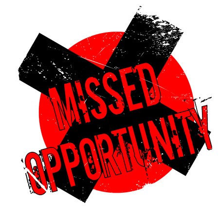 Missed Opportunity rubber stamp. Grunge design with dust scratches. Effects can be easily removed for a clean, crisp look. Color is easily changed.