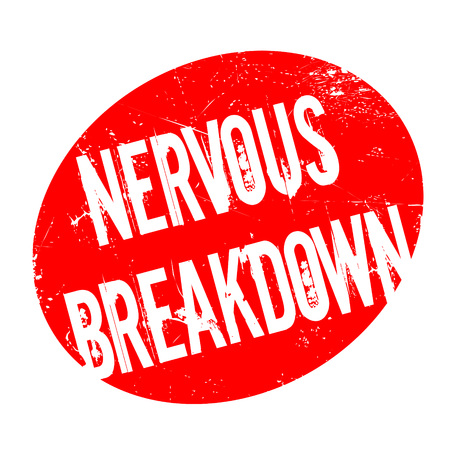 exhaustion: Nervous Breakdown rubber stamp. Grunge design with dust scratches. Effects can be easily removed for a clean, crisp look. Color is easily changed.