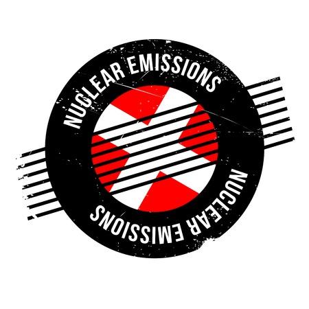 riesgo biologico: Emisiones nucleares sello de goma. Diseño de grunge con rasguños de polvo. Los efectos se pueden quitar fácilmente para un aspecto limpio y nítido. El color se cambia fácilmente. Vectores