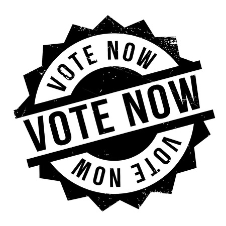 promptly: Vote Now rubber stamp. Grunge design with dust scratches. Effects can be easily removed for a clean, crisp look. Color is easily changed. Illustration