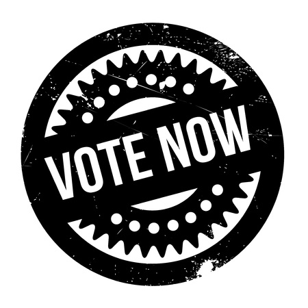 Vote Now rubber stamp. Grunge design with dust scratches. Effects can be easily removed for a clean, crisp look. Color is easily changed. Illusztráció