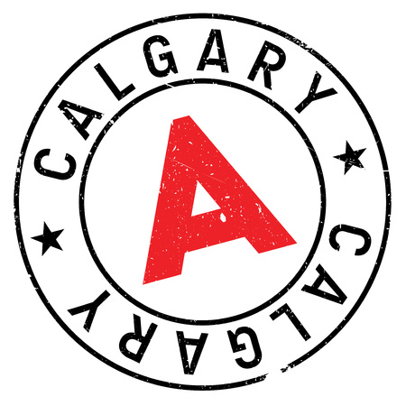 Calgary stamp. Grunge design with dust scratches. Effects can be easily removed for a clean, crisp look. Color is easily changed.