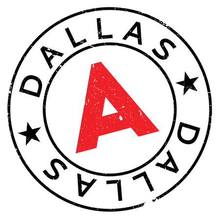Dallas stamp. Grunge design with dust scratches. Effects can be easily removed for a clean, crisp look. Color is easily changed.