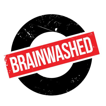 persuasive: Brainwashed rubber stamp. Grunge design with dust scratches. Effects can be easily removed for a clean, crisp look. Color is easily changed.