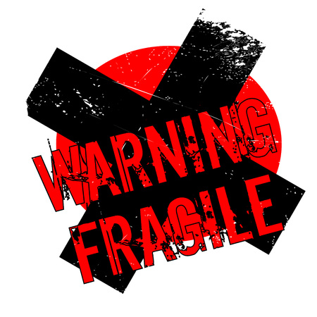 Warning Fragile rubber stamp. Grunge design with dust scratches. Effects can be easily removed for a clean, crisp look. Color is easily changed. Illustration