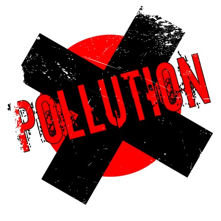 Pollution rubber stamp. Grunge design with dust scratches. Effects can be easily removed for a clean, crisp look. Color is easily changed.