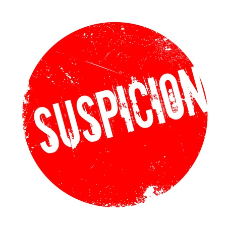 Suspicion rubber stamp. Grunge design with dust scratches. Effects can be easily removed for a clean, crisp look. Color is easily changed. Illustration