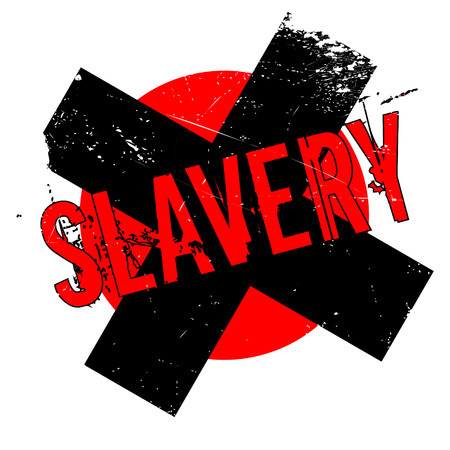 Slavery rubber stamp. Grunge design with dust scratches. Effects can be easily removed for a clean, crisp look. Color is easily changed. Illustration