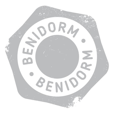 Benidorm stamp. Grunge design with dust scratches. Effects can be easily removed for a clean, crisp look. Color is easily changed.