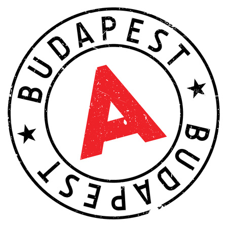 Budapest stamp. Grunge design with dust scratches. Effects can be easily removed for a clean, crisp look. Color is easily changed.
