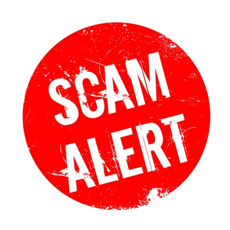 cagey: Scam Alert rubber stamp. Grunge design with dust scratches. Effects can be easily removed for a clean, crisp look. Color is easily changed.
