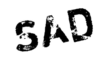 Sad rubber stamp. Grunge design with dust scratches. Effects can be easily removed for a clean, crisp look. Color is easily changed.