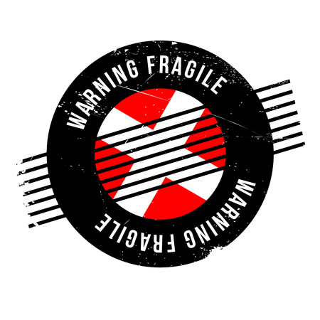 premonition: Warning Fragile rubber stamp. Grunge design with dust scratches. Effects can be easily removed for a clean, crisp look. Color is easily changed. Illustration