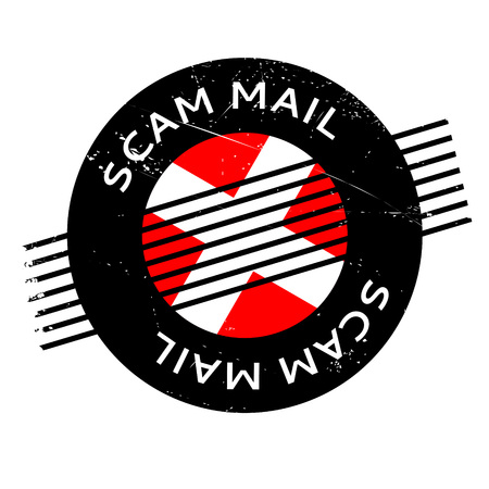 Scam Mail rubber stamp. Grunge design with dust scratches. Effects can be easily removed for a clean, crisp look. Color is easily changed. Illustration