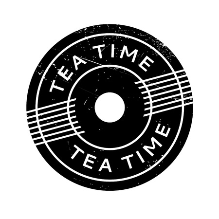 Tea Time rubber stamp. Grunge design with dust scratches. Effects can be easily removed for a clean, crisp look. Color is easily changed. Ilustrace