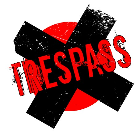 Trespass rubber stamp. Grunge design with dust scratches. Effects can be easily removed for a clean, crisp look. Color is easily changed.